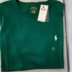Green Polo T-Shirt |  Size - Large | Green / White